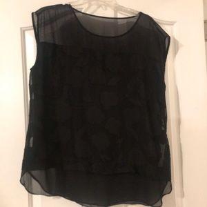 Ann Taylor black floral sheer short sleeve blouse